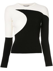 Valentino Two Tone Ribbed Top White
