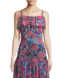Fuzzi Rose Print Ruffled Tank Blue Ink