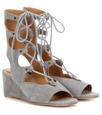 Chloe Foster Suede Gladiator Wedge Sandals Grey