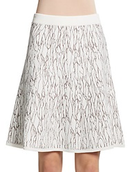 Catherine Malandrino Crackle Knit Skirt Winter White