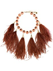 Rosantica Feather Crystal Necklace Red