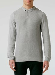 Topman Grey And White Rib Polo Neck Jumper