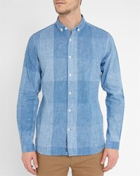 Knowledge Cotton Apparel Blue Blended Check Slim Fit Shirt