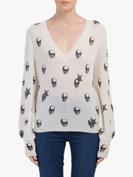 360 Sweater Jamie Skull And Stars Cashmere Jumper Chalk Charcoal