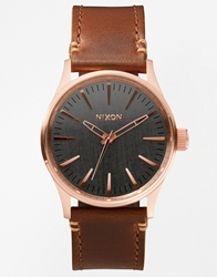 Nixon Sentry 38 Rose Gold Dial Leather Strap Watch Brown