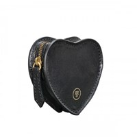 Maxwell Scott Bags Black Leather Heart Shaped Coin Purse