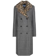 Prada Virgin Wool Blend Coat With Fur Collar Grey