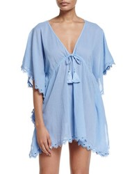 Seafolly Crochet Trim Caftan Coverup Mid Blue