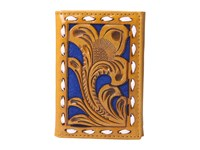 Mandf Western Embossed With Blue Background Trifold Wallet Tan Blue Wallet Handbags