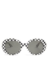 Saint Laurent Oval Frame Sunglasses Black Multi