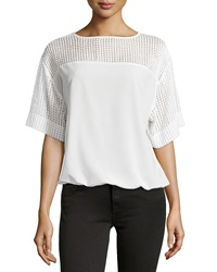 Catherine Catherine Malandrino Andrew Pleated Cutout Blouson Top Cloud