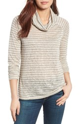 Gibson Women's Raglan Sleeve Cowl Neck Sweater Oxford Tan Ivory