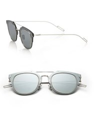 Christian Dior Composit 62Mm Round Sunglasses Grey Silver Grey Blue