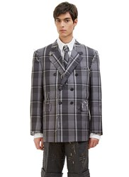 Thom Browne Distressed Winter Madras Checked Blazer Jacket Grey