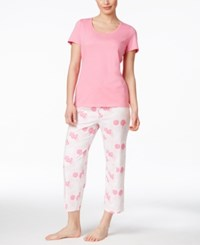 Nautica T Shirt And Printed Capri Pants Pajama Set Floral Pink