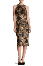 Dress The Population Women's 'Shawn' Sequin Midi Matte Black Gold