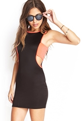 Forever 21 Cutout Bodycon Tank Dress Black Neon Pink
