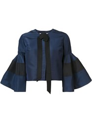 Carolina Herrera Bell Sleeve Jacket Blue