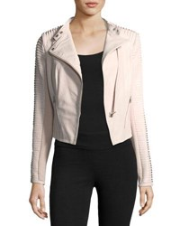 Lamarque Stripped Leather Motorcycle Jacket Pink