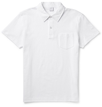 Sunspel Riviera Cotton Mesh Polo Shirt White