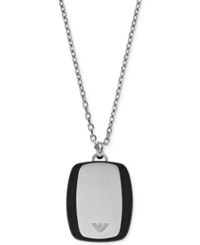 Emporio Armani Men's Two Tone Dog Tag Logo Pendant Necklace Egs2187 Silver