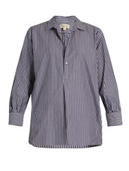 Nili Lotan Ambrose Striped Cotton Shirt White Navy