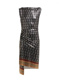 Paco Rabanne Yucca Print Ruched Chainmail Dress Black Multi