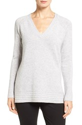 Nordstrom Women's Collection Cashmere High Low Pullover Grey Clay Heather