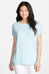 Caslon Slub Cotton Blend Short Sleeve Sweater Blue