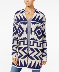 Roxy Juniors' Open Front Knit Cardigan Light Beige Blue