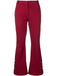Derek Lam 10 Crosby Cropped Crosby Cotton Twill Flare Trousers With Red