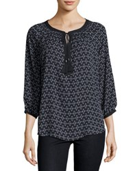 Neiman Marcus Printed Neck Tie Peasant Blouse Black Pattern