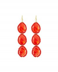 Panacea Linear Crystal Beaded Triple Drop Earrings Orange