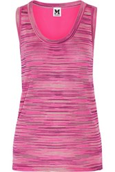 M Missoni Crochet Knit And Silk Top Fuchsia