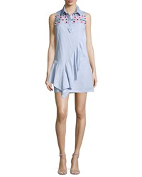 Peter Pilotto Sleeveless Lace Yoke Chambray Shirtdress Sky Blue