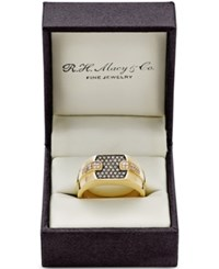 Effy Collection Gento By Effy Men's Brown 1 4 Ct. T.W. And White Diamond 1 8 Ct. T.W. Ring In 14K Gold Yellow Gold