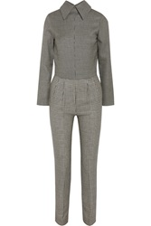 Emilia Wickstead Bae Houndstooth Wool And Silk Blend Jumpsuit Black