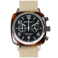 Briston Clubmaster Chronograph Watch Black Tortoise And Khaki
