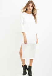 Forever 21 Chiffon Hem Midi Dress Cream