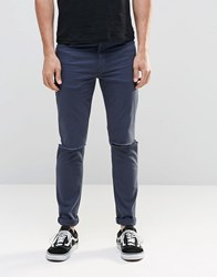 Asos Skinny Jeans With Knee Rips In Dark Blue Dark Blue