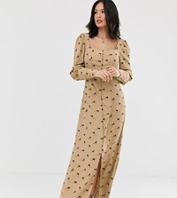 Glamorous Milkmaid Maxi Dress In All Over Horse Print Brown
