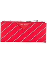 Karl Lagerfeld Striped Logo Folded Wallet Red