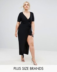 Club L Plus Slinky Wrap Front Maxi Dress Black