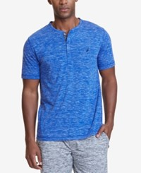Nautica Men's Space Dyed Henley Pajama Shirt Blue
