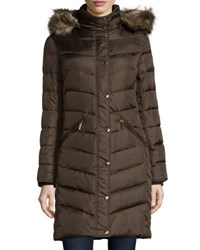 Michael Michael Kors Long Sleeve Chevron Quilted Puffer Jacket W Faux Fur Trim Bark