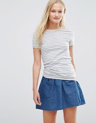 Pieces Raya Stripe T Shirt Light Grey Melange