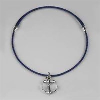 Stephen Einhorn Men's Anchor Pendant Leather Necklace Silver And Blue Woven Leather Cord