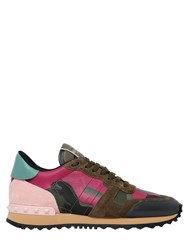 Valentino Camouflage Leather And Suede Sneakers