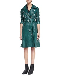 Acne Studios Fit And Flare Leather Trenchcoat Racing Green