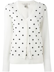 Marc Jacobs Embroidered V Neck Sweater White
